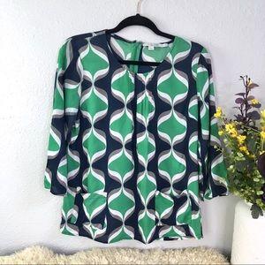 Boden retro print mid century pocket blouse